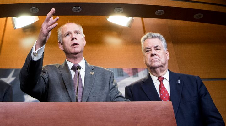 Reps. Dan Donovan and Peter King of New York are among four Republicans sponsoring legislation that would punish any mask-wea
