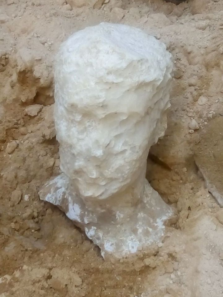 An alabaster head found near the sarcophagus is believed to be a depiction of the owner of the tomb.