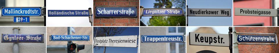 Straßenschilder der Orte, an denen das rechtsextremistische Terrortrio des NSU seine Verbrechen