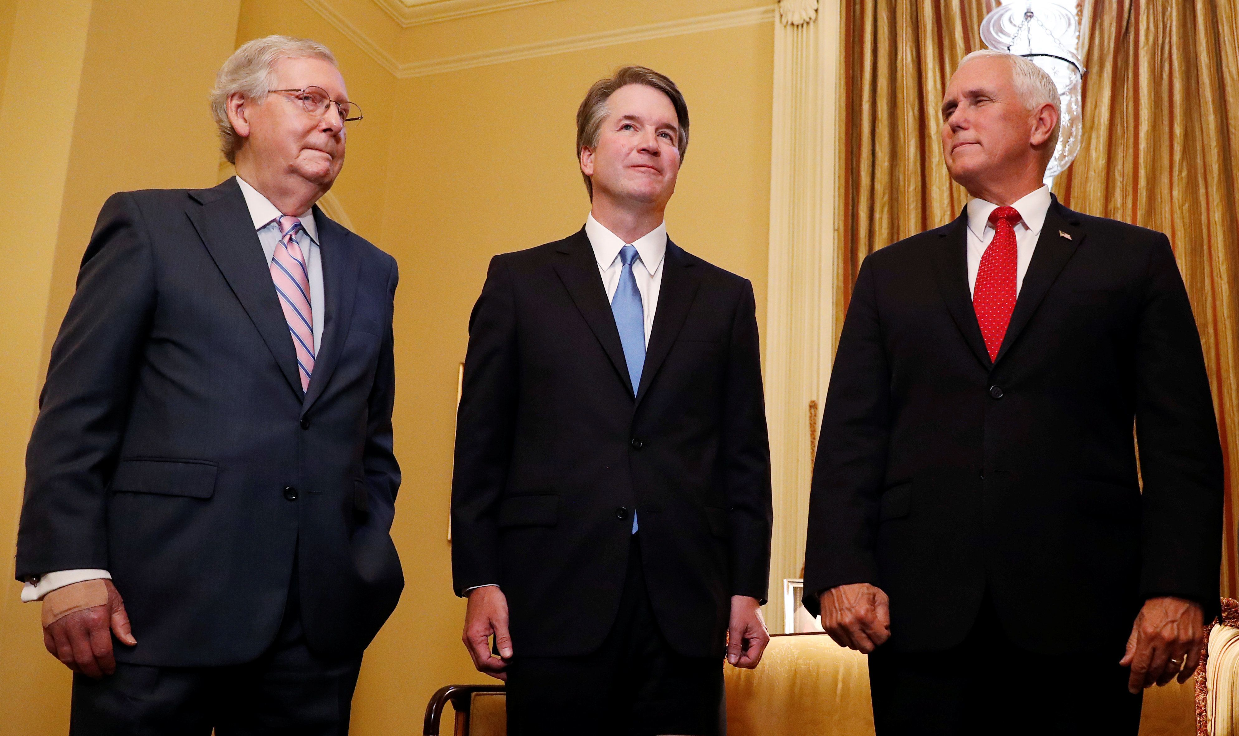 From left to right, Senate Majority Leader Mitch McConnell (R-Ky.), Supreme Court nominee Judge Brett Kavanaugh and Vice
