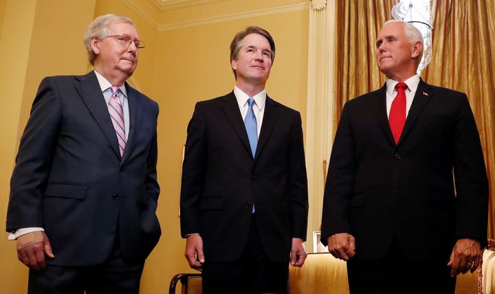 From left to right, Senate Majority Leader Mitch McConnell(R-Ky.), Supreme Court nominee Judge Brett Kavanaugh and Vice