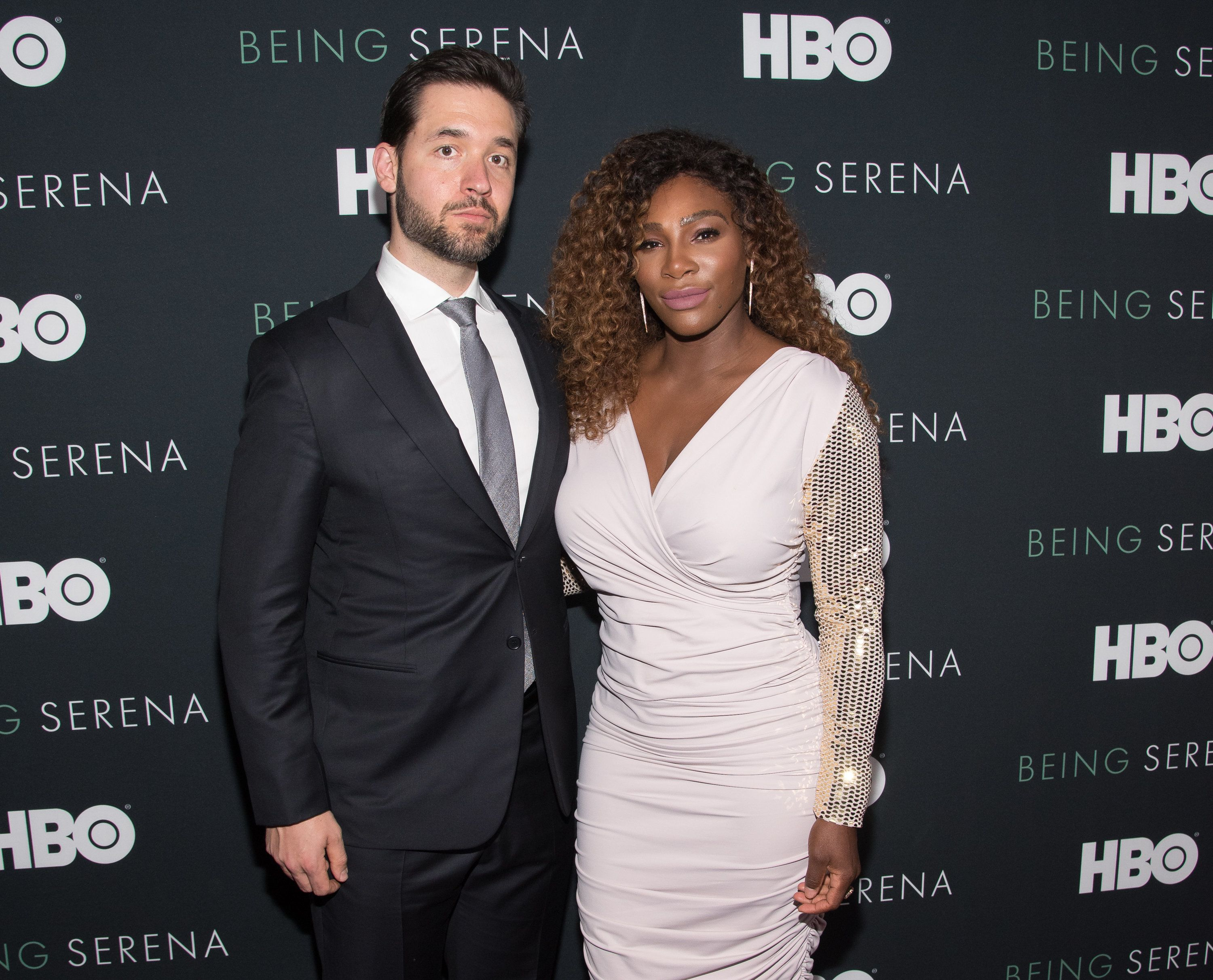 NEW YORK, NY - APRIL 25:  Serena Williams (R) and husband Alexis Ohanian attend the 'Being Serena' New York Premiere at Time Warner Center on April 25, 2018 in New York City.  (Photo by Mike Pont/WireImage)
