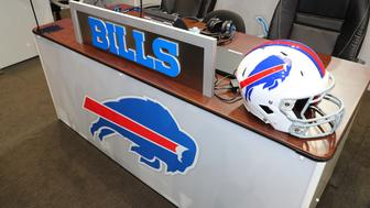 ARLINGTON, TX - APRIL 27:  The Buffalo Bills Draft Table prior to the second and third rounds of the 2018 NFL Draft on April 27, 2018, at AT&T Stadium in Arlington, TX.   (Photo by Rich Graessle/Icon Sportswire via Getty Images)
