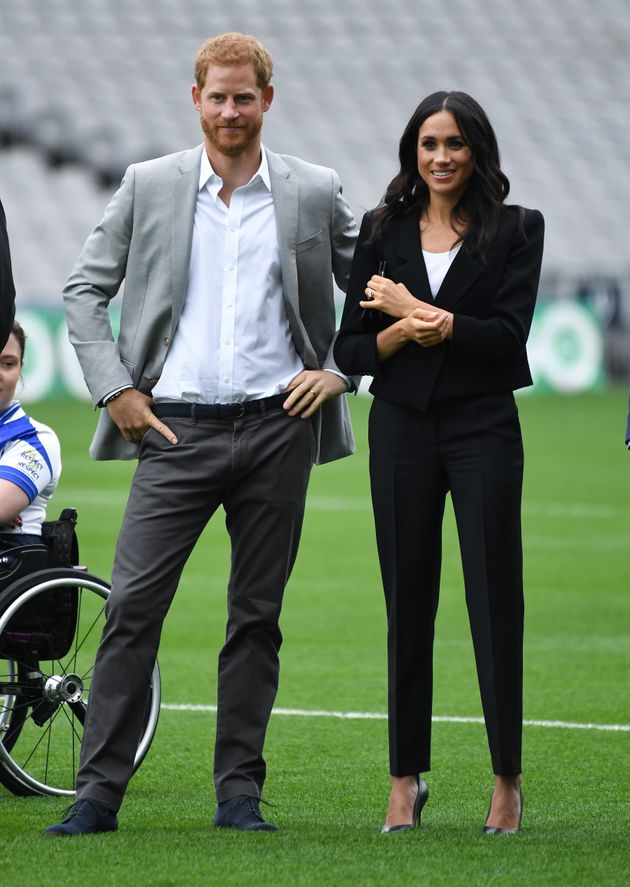 The Duke and Duchess of Sussex during a visit to Croke Park on the second day of their visit to Dublin,...