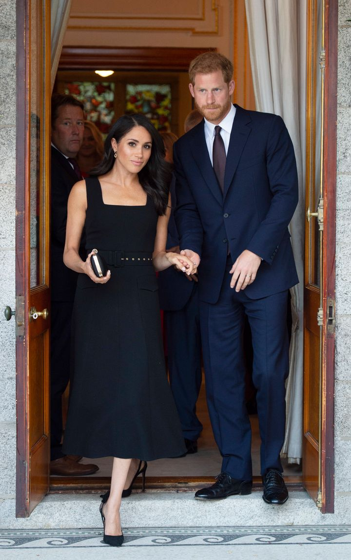 The Duke and Duchess of Sussex attend a reception at Glencairn, the residence of Robin Barnett, the British Ambassador to Ireland, during day one of their visit to Ireland on July 10.