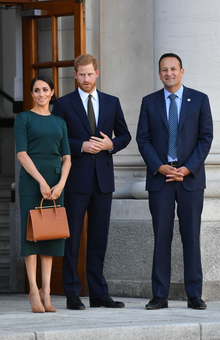 Prince Harry and Meghan Markle attend a meeting with Leo Varadkar, the Taoiseach (Ireland's prime minister).