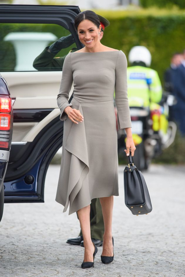 The Duchess of Sussex in a Roland Mouret for her meeting with the president of Ireland, Michael Higgins,...
