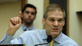 """Rep. Jim Jordan (R-OH) questions FBI Director Christopher Wray and Deputy U.S. Attorney General Rod Rosenstein during a House Judiciary Committee hearing entitled """"Oversight of FBI and DOJ Actions Surrounding the 2016 Election"""" on Capitol Hill in Washington, U.S., June 28, 2018. REUTERS/Yuri Gripas"""