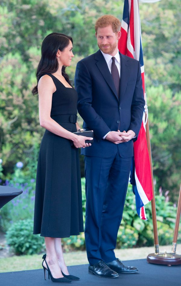 The couple attends a reception at the residence of Robin Barnett, the British ambassador to Ireland, on the first day of