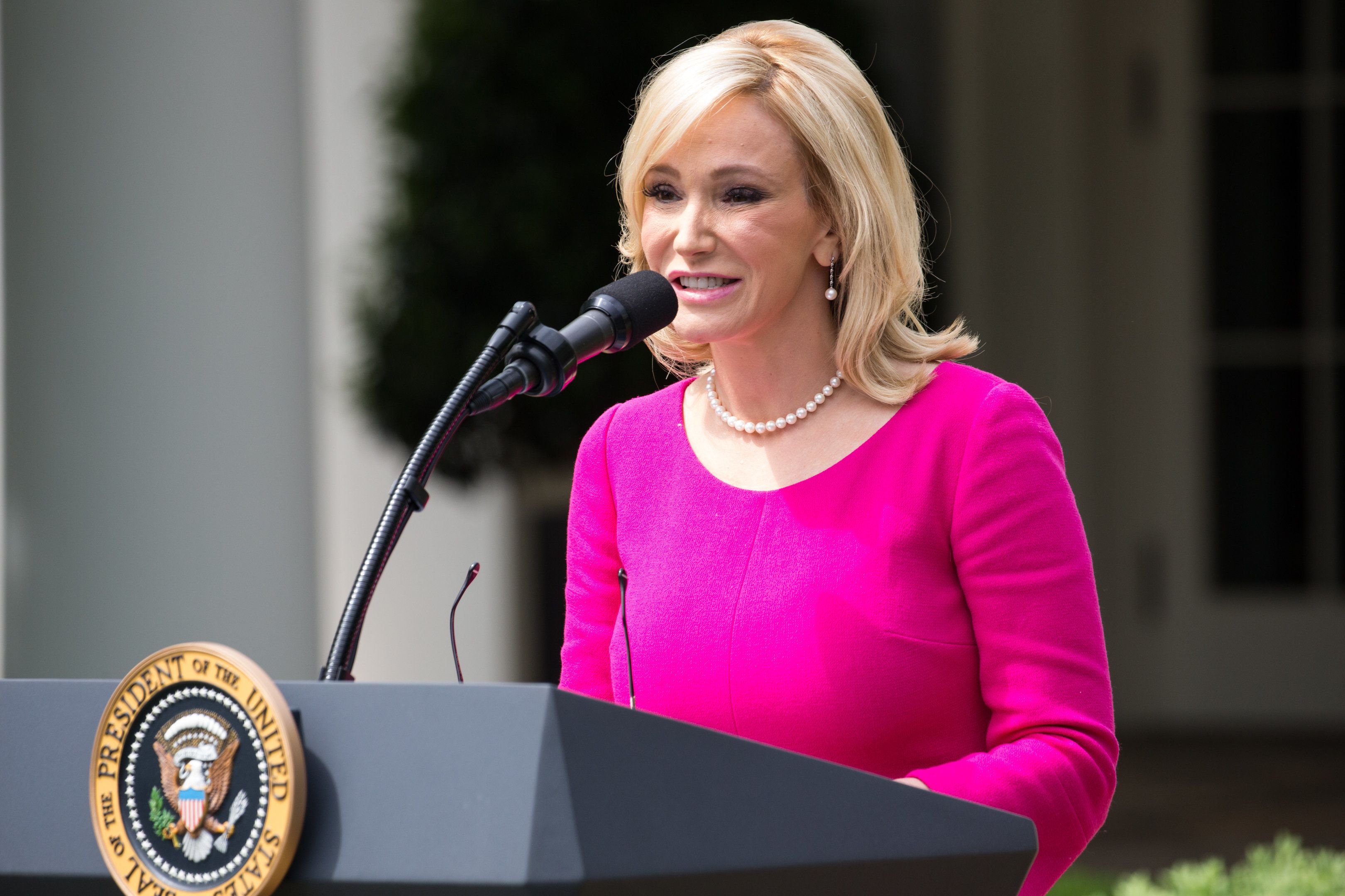 Pastor Paula White spoke at the National Day of Prayer ceremony, in the Rose Garden of the White House, On Thursday, May 4, 2017. (Photo by Cheriss May/NurPhoto via Getty Images)