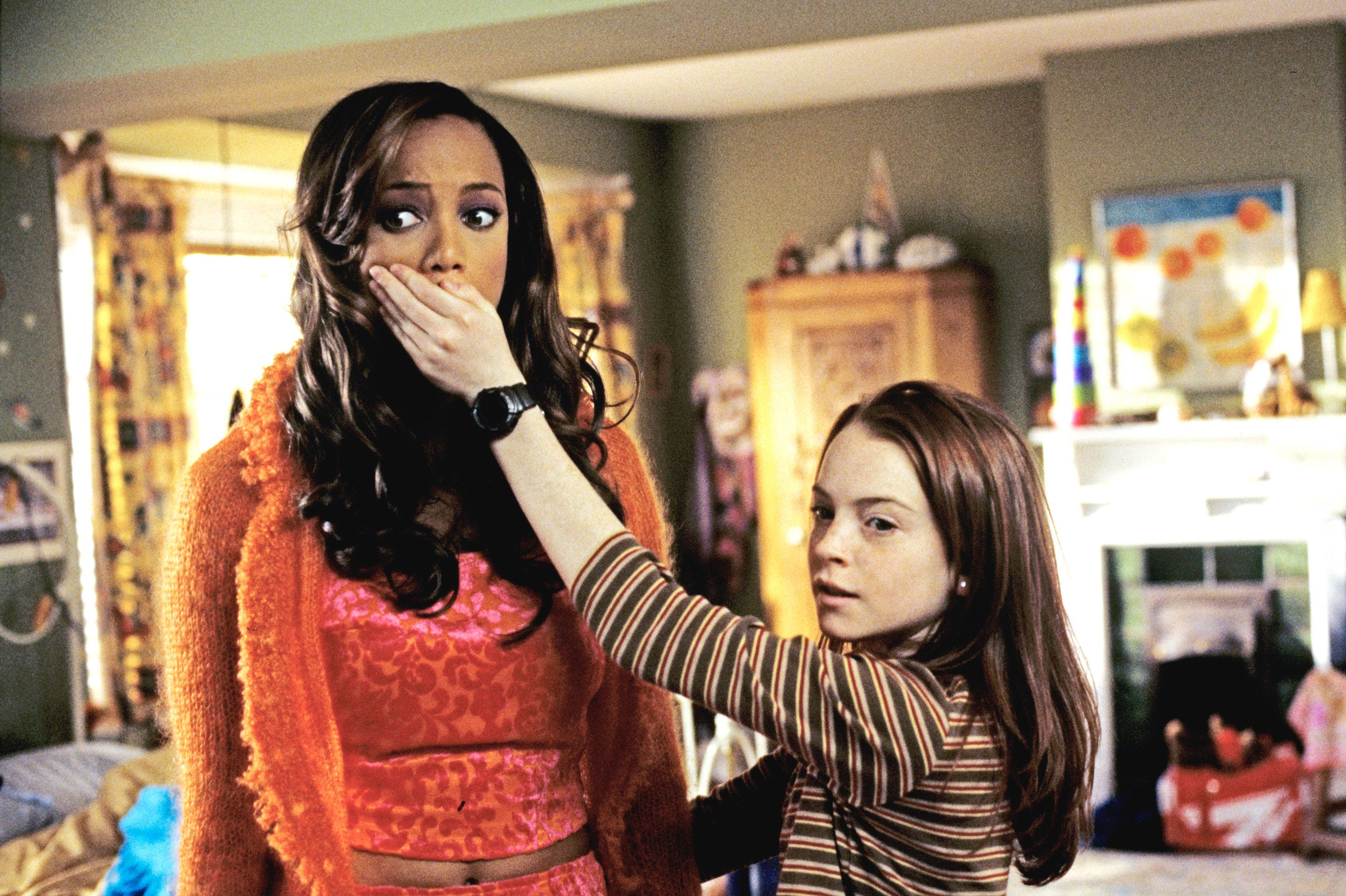 CANADA - MARCH 05:  ABC MOVIE FOR TV - 'Life-Size' - 3/5/00, Casey Stuart (Lindsay Lohan, right) accidentally brings her Eve doll (played by Tyra Banks) to life as the Perfect Woman while trying to cast a spell to resurrect her mother.,  (Photo by ABC Photo Archives/ABC via Getty Images)