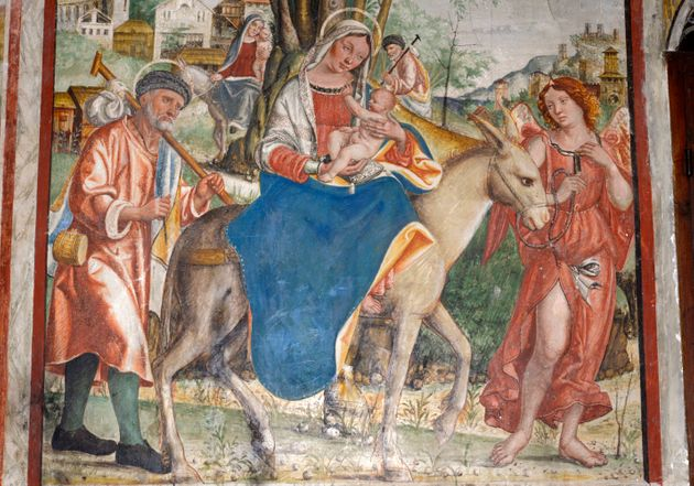 Jesus'flight into Egypt is depicted in a 16th-century fresco by Francesco da Milano, located in...