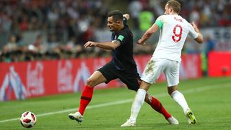 Croatia's Dejan Lovren (left) and England's Harry Kane battle for the ball during the FIFA World Cup, Semi Final match at the Luzhniki Stadium, Moscow. (Photo by Tim Goode/PA Images via Getty Images)