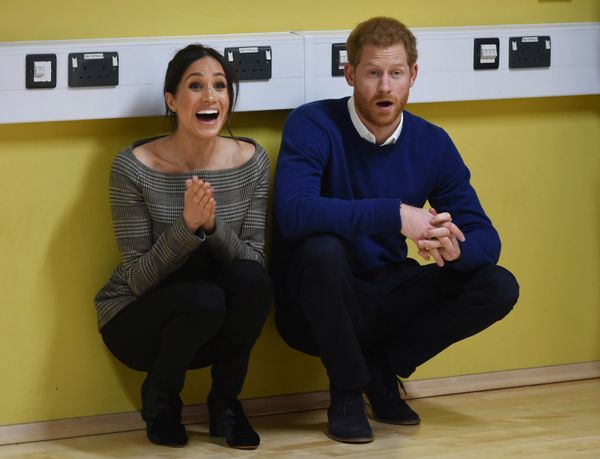 Harry and Meghan attend a street dance class during their visit to Star Hub in Cardiff, Wales, on Jan. 18.