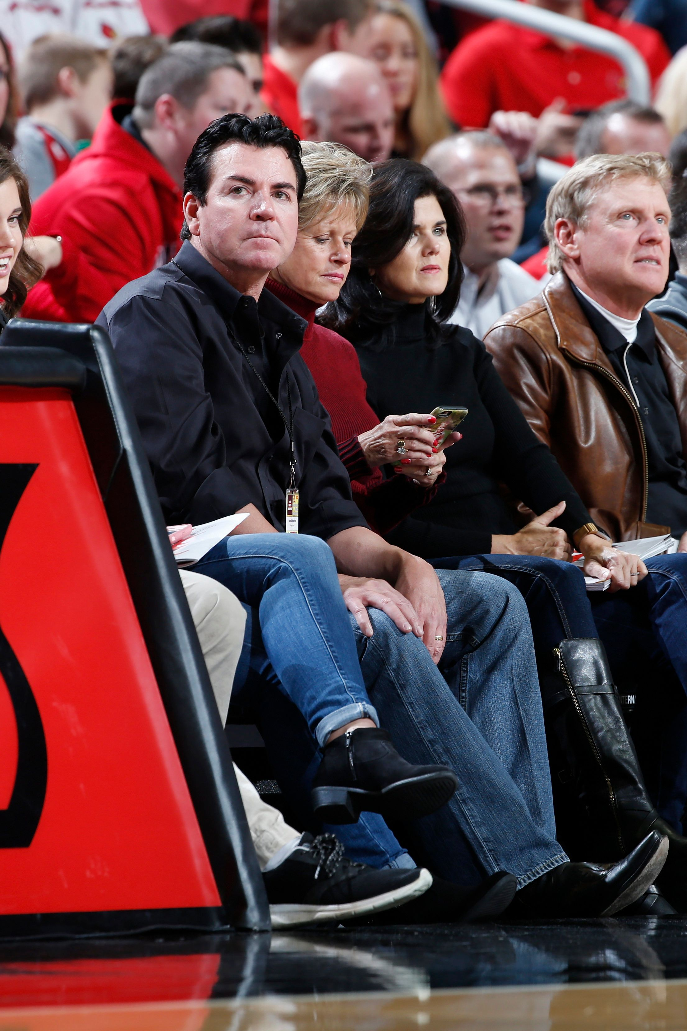 LOUISVILLE, KY - NOVEMBER 17: Papa John's Pizza CEO John Schnatter sits courtside during a game between the Omaha Mavericks and Louisville Cardinals at KFC YUM! Center on November 17, 2017 in Louisville, Kentucky. Louisville won 87-78. (Photo by Joe Robbins/Getty Images)