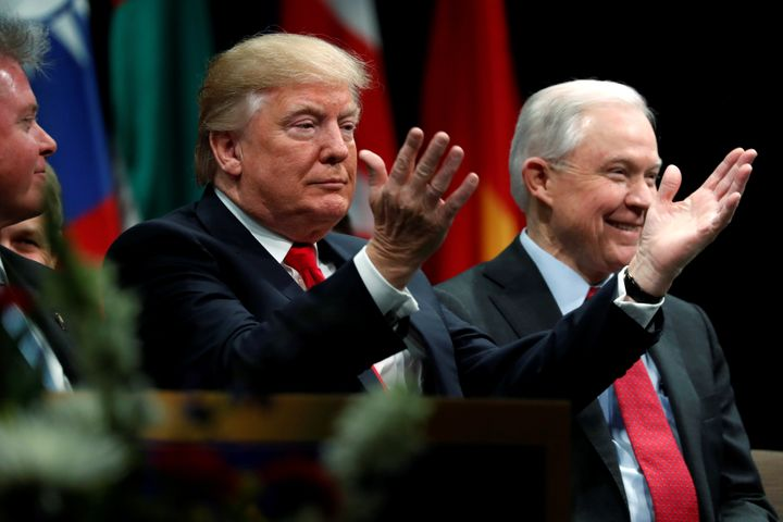 U.S. President Donald Trump with Attorney General Jeff Sessions on December 15, 2017.