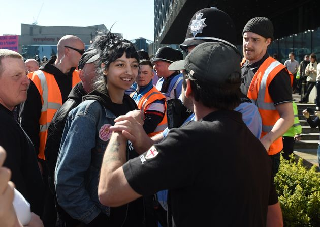 Saffiyah, then 18, confronting the EDL in
