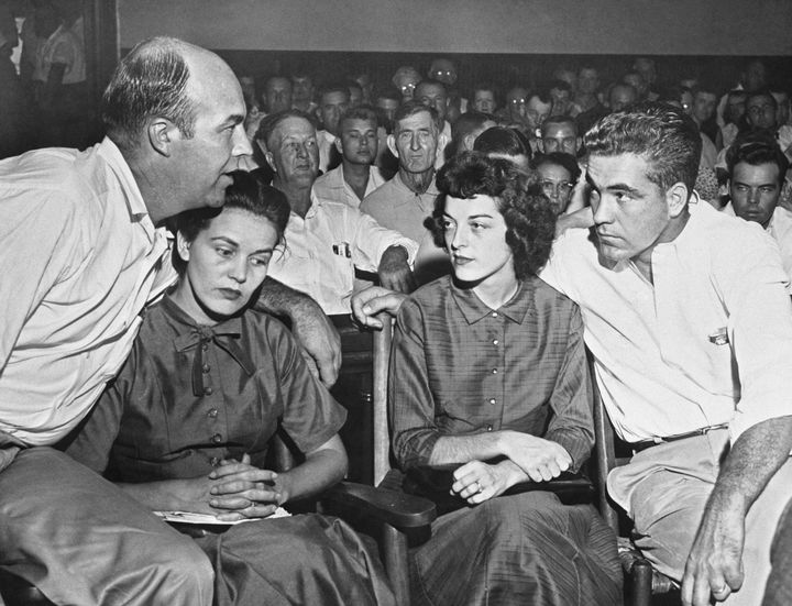 (From left) J.W. Milam; his wife, Juanita Milam; Carolyn Bryant; and Roy Bryant during the men's murder trial in 1955.
