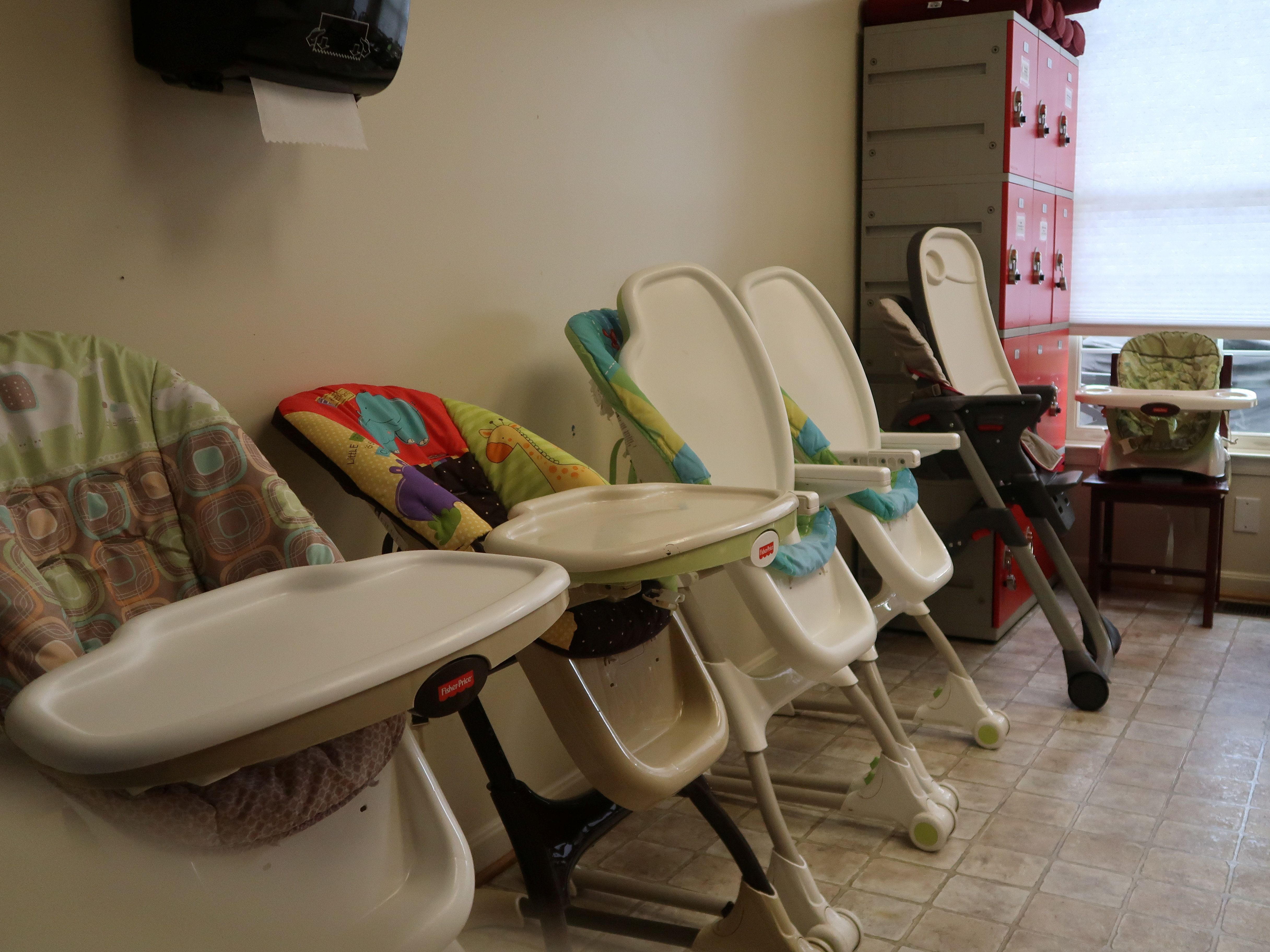 Baby and toddler high chairs are seen at the Bristow facility, in this photo provided by the U.S. Department of Health and Hu