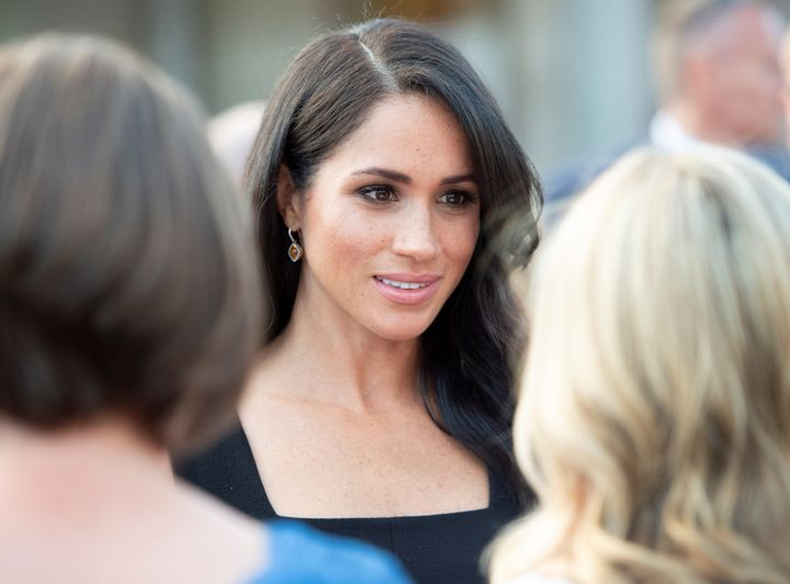 Meghan, Duchess of Sussex, attends a reception at Glencairn, the residence of Robin Barnett, the British ambassador to Ireland, at the start of a two-day visit to Dublin on Tuesday.