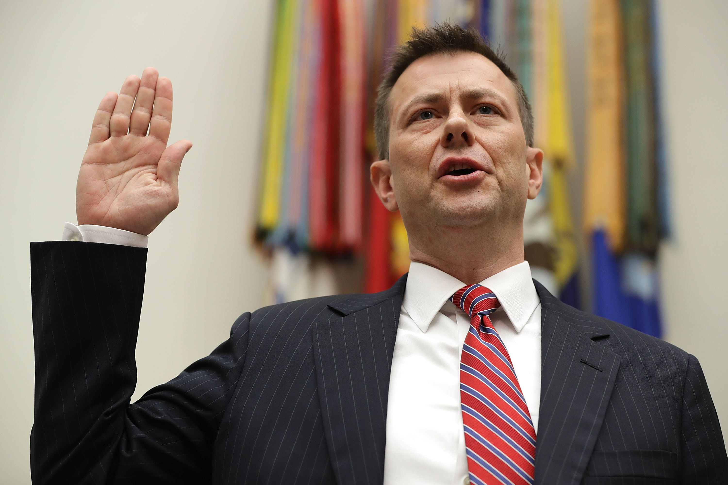 "FBI special agent Peter Strzok testified Thursday that an August 2016 text stating ""we'll stop"" Donald Trum"