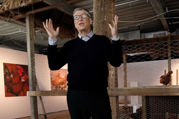 Billionaire philanthropist Bill Gates announces in June 2016 that he is donating 100,000 chicks to developing...