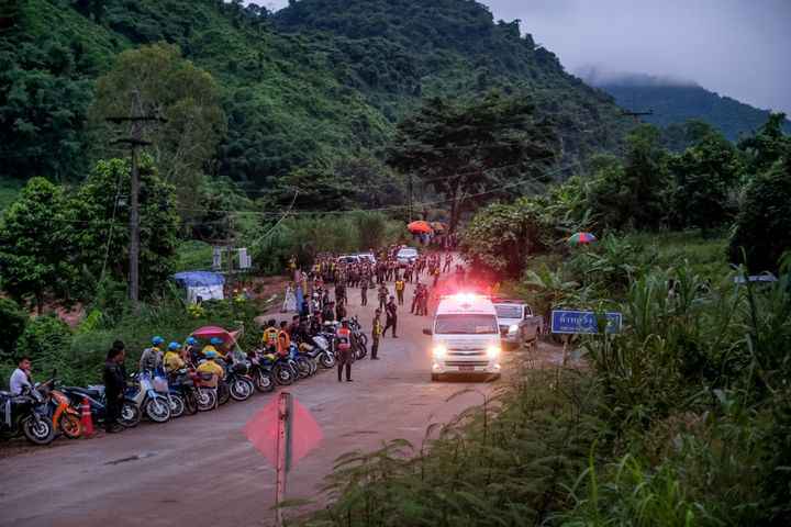 An ambulance carrying one of the soccer players rescued from Tham Luang Nang Non cave in Thailand heads to a hospit