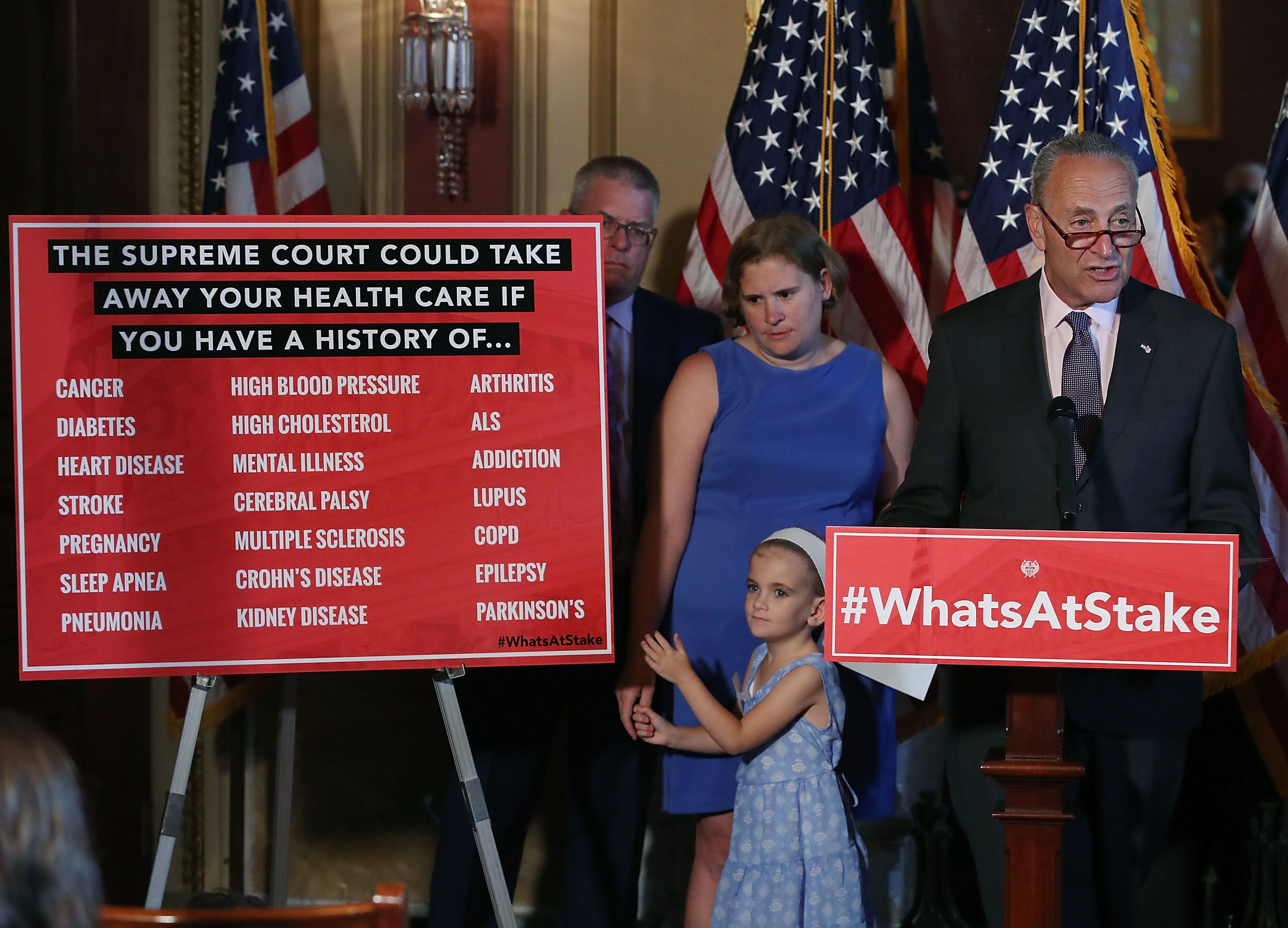 WASHINGTON, DC - JULY 11: Senate Minority Leader Chuck Schumer (D-NY) speaks about healthcare while flanked by 6 yo Charlie Wood who has complex medical needs from being born 3 months early, during a news conference on Capitol Hill, on July 11, 2018 in Washington, DC. Schumer urged Senate Republicans not to dismantle our current health care system that would leave millions of American families without access to affordable health care.  (Photo by Mark Wilson/Getty Images)