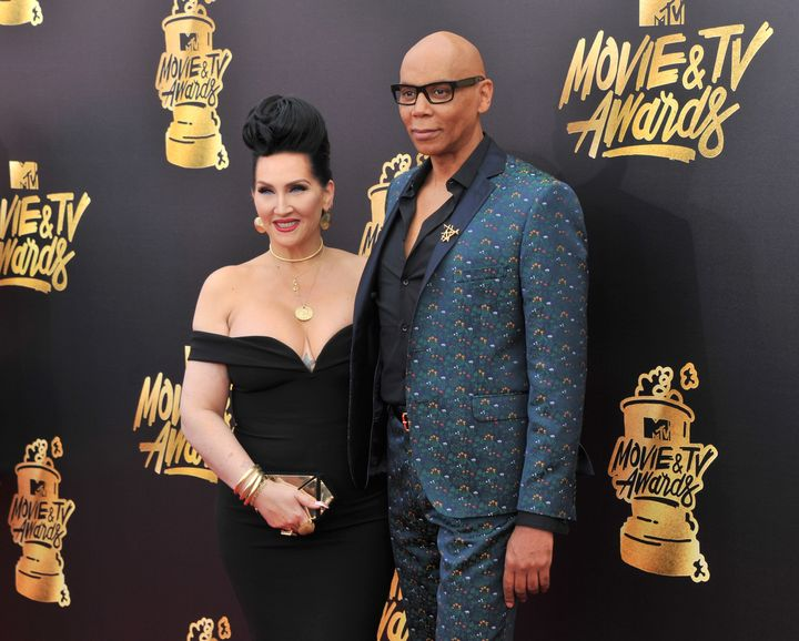 RuPaul and Michelle Visage arrive at the 2017 MTV Movie And TV Awards.