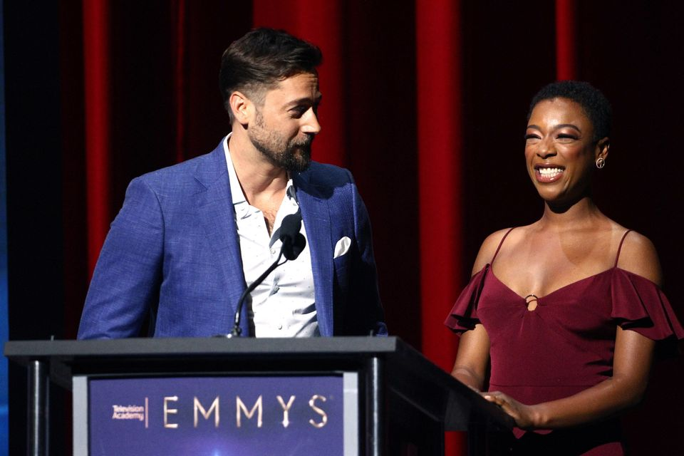 NORTH HOLLYWOOD, CA - JULY 12:  Ryan Eggold and Samira Wiley attend the 70th Emmy Awards Nominations Announcement at Saban Me