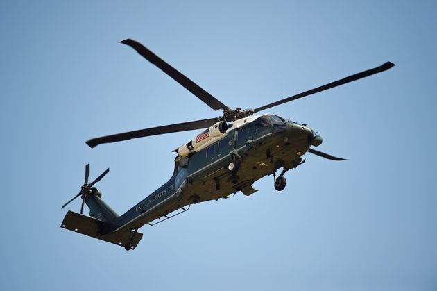 A helicopter of the US Marine Corps comes into land at the residence of the US Ambassador in London's...