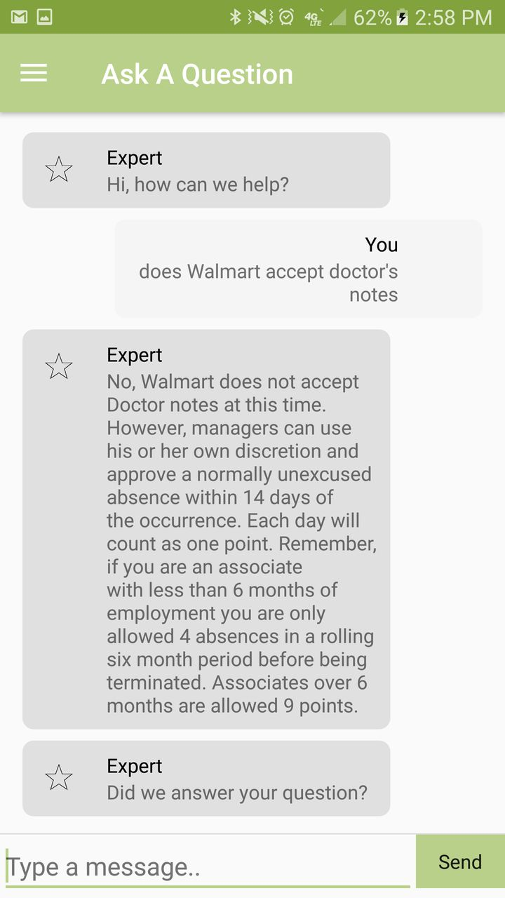 A screenshot of the WorkIt app that the labor organizing group OUR Walmart has been using to reach employees.