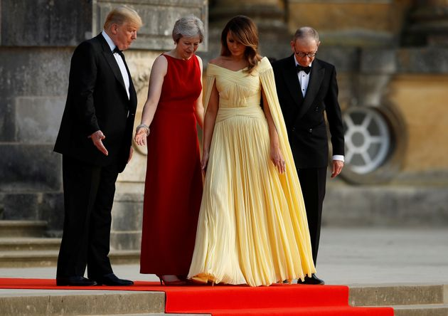 Trump Arrives At Blenheim Palace On First Day Of Visit To UK As US