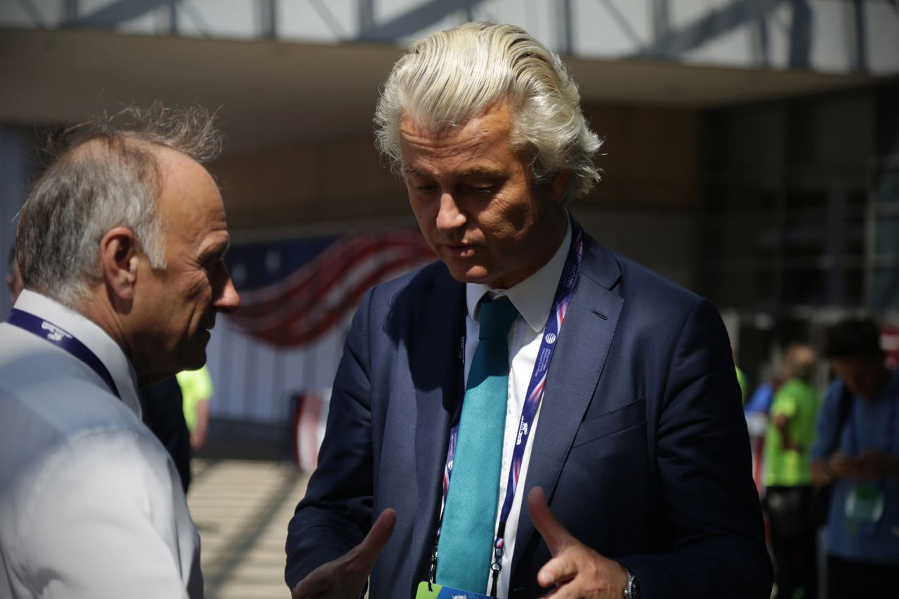 Rep. Steve King, left, talks to Geert Wilders outside the 2016 Republican National Convention in Cleveland, Ohio.