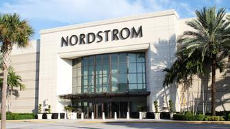 West Palm Beach, Florida, USA - September 7, 2011: This image shows a Nordstrom retail store at a suburban shopping mall. Nordstrom offers apparel, shoes, jewelry, cosmetics and accessories for women, men and kids. They carry most of the popular designer brands.