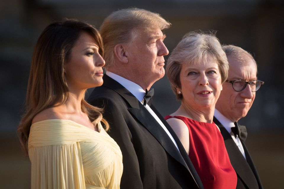 President Trump welcomed to Blenheim Palace by Theresa May