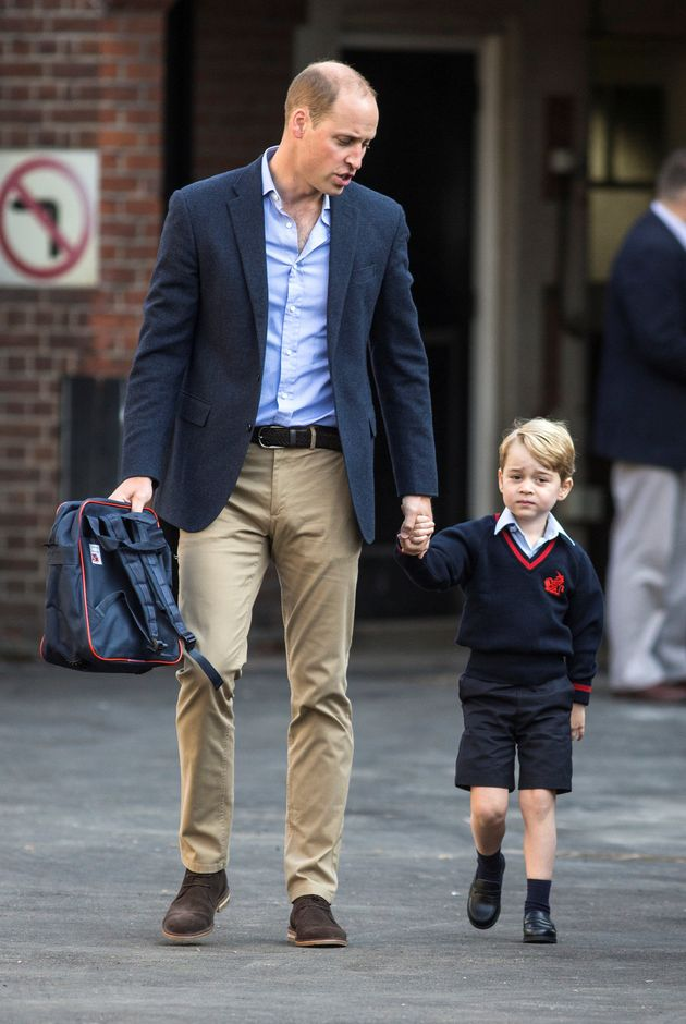 Prince William accompanies his son Prince George on his first day of school at Thomas's school in...