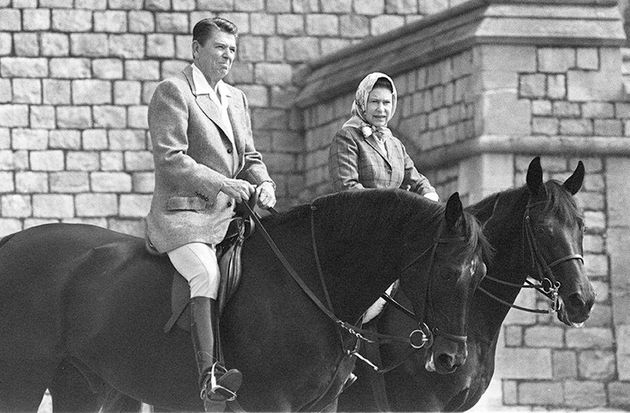 US President Ronald Reagan and the Queen riding in Home Park in Windsor in