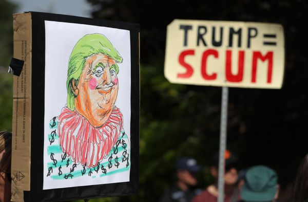 Homemade anti-Trump placards in Butler's Cross, close to the prime minister's country residence of Chequers, during day&