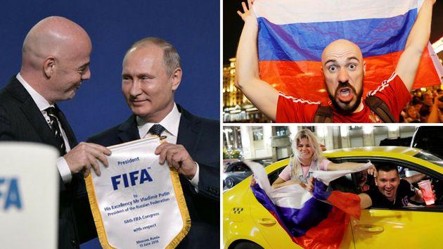 Russland Präsident Wladimir Putin (linkes Foto, rechts) profitiert von der Begeisterung der Russen...