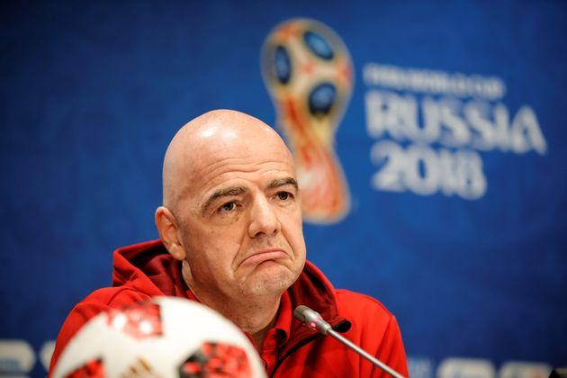 Le président de la Fifa, Gianni Infantino, lors d'une conférence avant la finale de la...