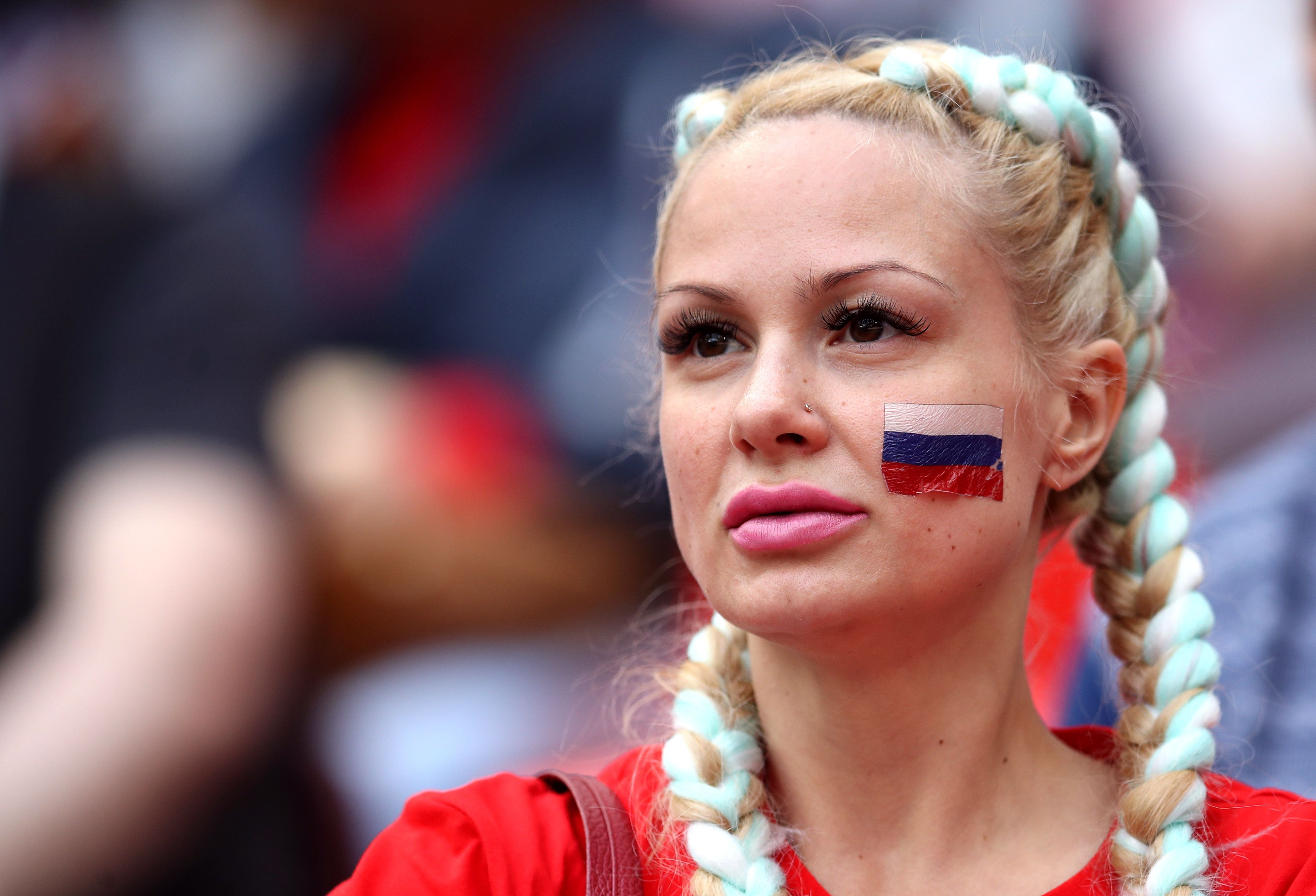 A Russian fan in the stands ahead of a match for the 2018 FIFA World Cup in Moscow.