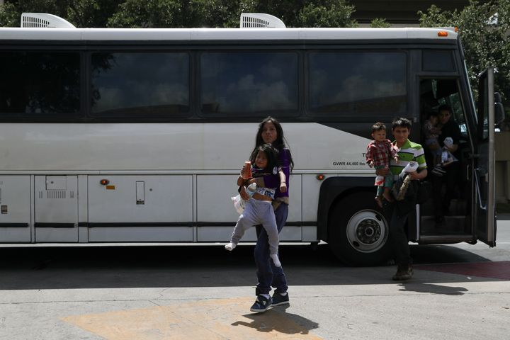 Undocumented immigrant families are released from detention at a bus depot in McAllen, Texas, U.S., July 3, 2018.