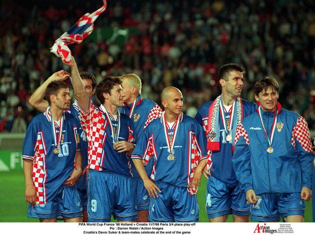 Des joueurs de la sélection croate après avoir arraché la troisième place...