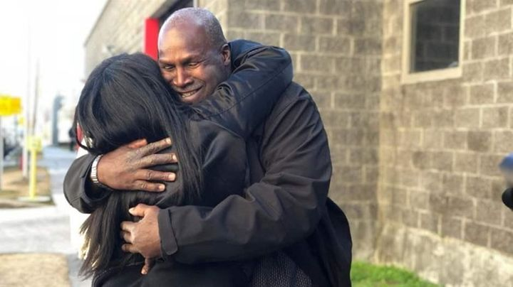 Malcolm Alexander hugs his niece in January after his release from the Louisiana State Penitentiary at Angola after nearly 38