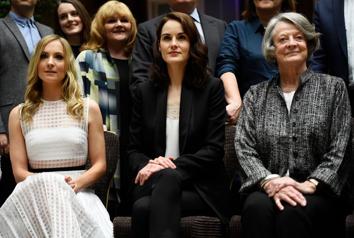Joanne Froggatt, Michelle Dockery, and Maggie Smith at a press event for