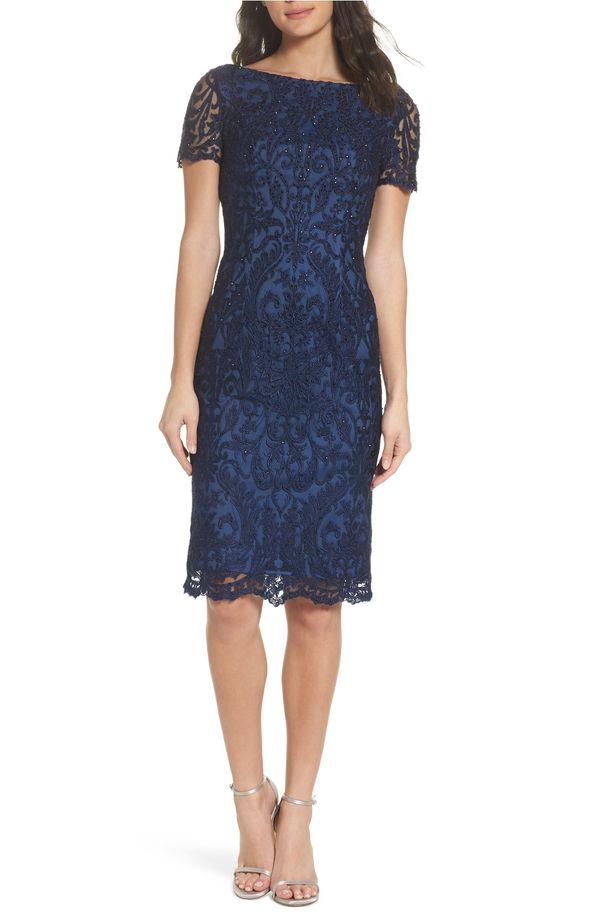 "<strong><a href=""https://shop.nordstrom.com/s/la-femme-beaded-lace-sheath-dress/4833973"" target=""_blank"">La Femme beaded lace"
