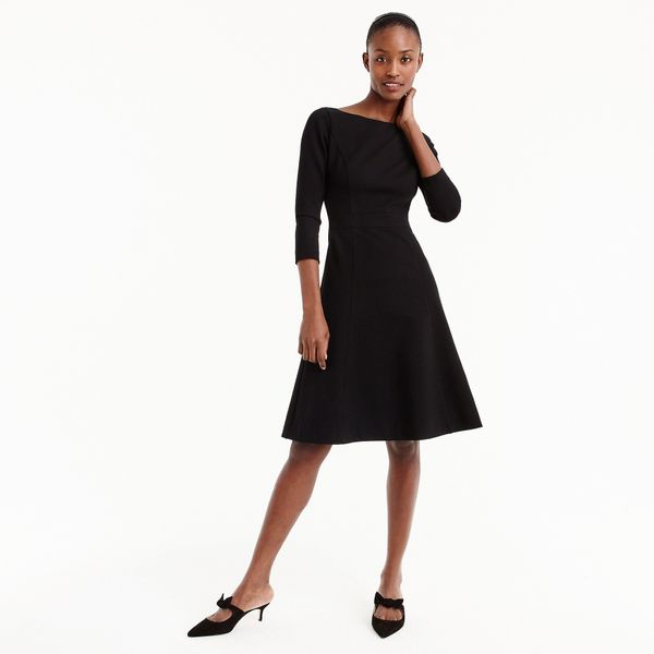 """<strong><a href=""""https://www.jcrew.com/p/womens_category/dresses/weartowork/fit-and-flare-sheath-dress-in-stretch-ponte/H9330"""