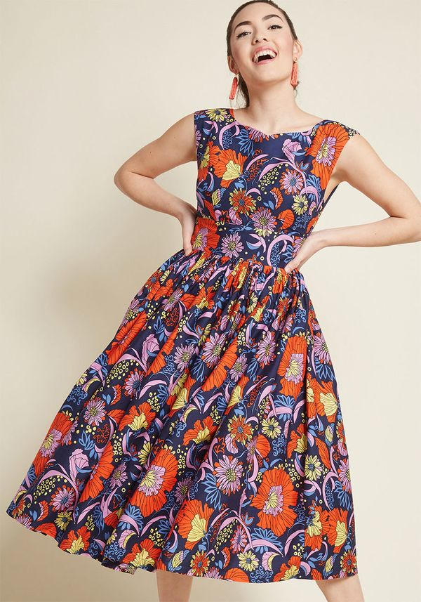 """<strong><a href=""""https://www.modcloth.com/shop/dresses/fabulous-fit-and-flare-dress-with-pockets-in-navy-floral/157844.html"""""""