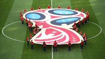 SOCHI, RUSSIA - JUNE 18:  The World Cup 2018 logo is seen on the pitch prior to the 2018 FIFA World Cup Russia group G match between Belgium and Panama at Fisht Stadium on June 18, 2018 in Sochi, Russia.  (Photo by Julian Finney/Getty Images)